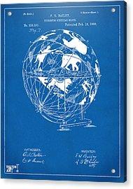 1886 Terrestro Sidereal Globe Patent Artwork - Blueprint Acrylic Print by Nikki Marie Smith