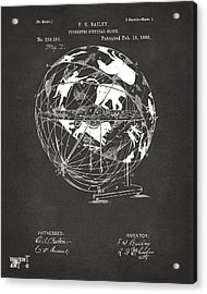 1886 Terrestro Sidereal Globe Patent Artwork - Gray Acrylic Print by Nikki Marie Smith