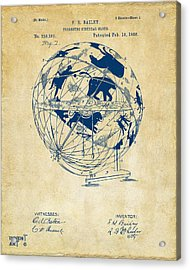 1886 Terrestro Sidereal Globe Patent Artwork - Vintage Acrylic Print by Nikki Marie Smith