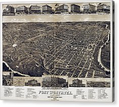 1886 Vintage Map Of Fort Worth Acrylic Print by Stephen Stookey