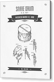 1889 Snare Drum Patent Drawing Acrylic Print