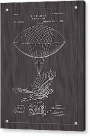 1889 Spalding Flying Machine Patent Art-black Woodgrain Acrylic Print