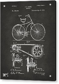 1890 Bicycle Patent Artwork - Gray Acrylic Print by Nikki Marie Smith