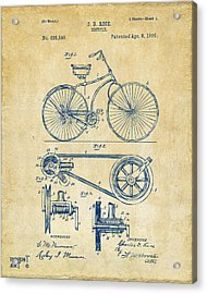 Acrylic Print featuring the digital art 1890 Bicycle Patent Artwork - Vintage by Nikki Marie Smith