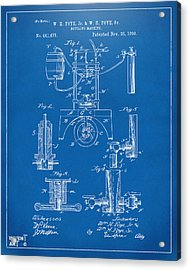 1890 Bottling Machine Patent Artwork Blueprint Acrylic Print by Nikki Marie Smith