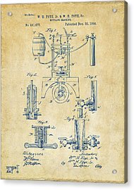 1890 Bottling Machine Patent Artwork Vintage Acrylic Print by Nikki Marie Smith