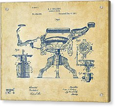 1891 Barber's Chair Patent Artwork Vintage Acrylic Print