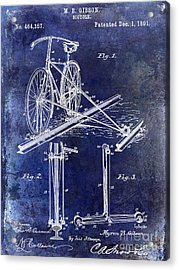 1891 Bicycle Patent Drawing Blue Acrylic Print by Jon Neidert