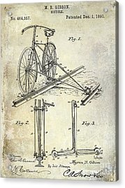 1891 Bicycle Patent Drawing Acrylic Print by Jon Neidert