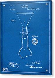 1891 Bottle Neck Patent Artwork Blueprint Acrylic Print by Nikki Marie Smith