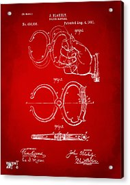 1891 Police Nippers Handcuffs Patent Artwork - Red Acrylic Print by Nikki Marie Smith