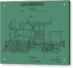 1892 Locomotive Patent On Green Acrylic Print by Dan Sproul