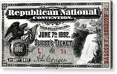 1892 Republican Convention Ticket Acrylic Print by Historic Image