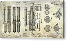 1893 Gatling Machine Gun Patent Drawing Acrylic Print