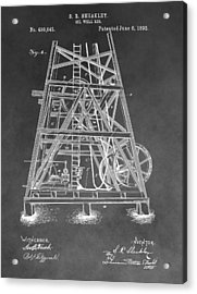 1893 Oil Rig Patent Acrylic Print by Dan Sproul