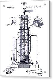 1893 Still Patent Drawing Blueprint Acrylic Print by Jon Neidert