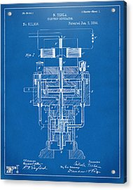 Acrylic Print featuring the drawing 1894 Tesla Electric Generator Patent Blueprint by Nikki Marie Smith