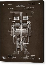Acrylic Print featuring the drawing 1894 Tesla Electric Generator Patent Espresso by Nikki Marie Smith