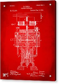 Acrylic Print featuring the drawing 1894 Tesla Electric Generator Patent Red by Nikki Marie Smith