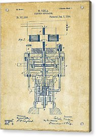 Acrylic Print featuring the drawing 1894 Tesla Electric Generator Patent Vintage by Nikki Marie Smith