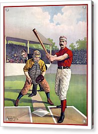1895 Batter Up At Home Plate Acrylic Print by Daniel Hagerman