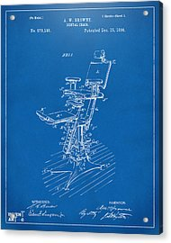 1896 Dental Chair Patent Blueprint Acrylic Print by Nikki Marie Smith