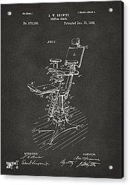 1896 Dental Chair Patent Gray Acrylic Print by Nikki Marie Smith