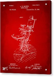 1896 Dental Chair Patent Red Acrylic Print by Nikki Marie Smith