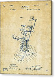 1896 Dental Chair Patent Vintage Acrylic Print by Nikki Marie Smith