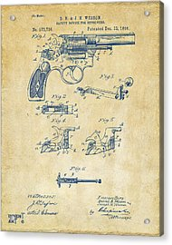 1896 Wesson Safety Device Revolver Patent Artwork - Vintage Acrylic Print by Nikki Marie Smith