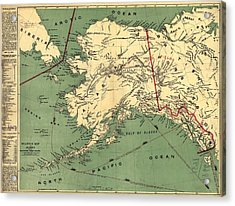 Acrylic Print featuring the photograph 1897 Map Of Alaska by Charles Beeler