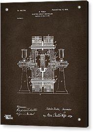 1898 Tesla Electric Circuit Patent Artwork Espresso Acrylic Print by Nikki Marie Smith