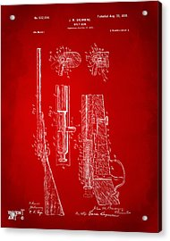 1899 Browning Bolt Gun Patent Red Acrylic Print by Nikki Marie Smith