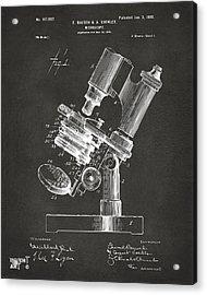 1899 Microscope Patent Gray Acrylic Print by Nikki Marie Smith