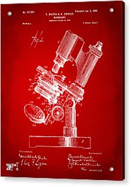 1899 Microscope Patent Red Acrylic Print by Nikki Marie Smith