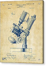 Acrylic Print featuring the digital art 1899 Microscope Patent Vintage by Nikki Marie Smith