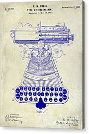 1899 Type Writer Patent Drawing  Acrylic Print