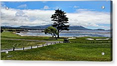 18th At Pebble Beach Panorama Acrylic Print by Judy Vincent