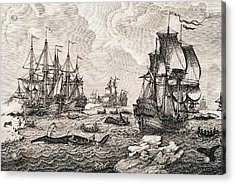 18th Century Dutch Whaling Fleet Acrylic Print by George Bernard/science Photo Library