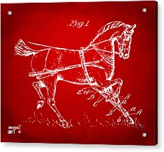 1900 Horse Hobble Patent Artwork Red Acrylic Print by Nikki Marie Smith