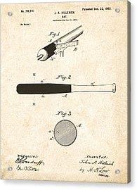 1902 Baseball Bat Patent Acrylic Print by Bill Cannon