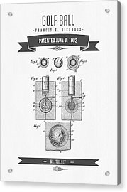 1902 Golf Ball Patent Drawing - Retro Gray Acrylic Print by Aged Pixel