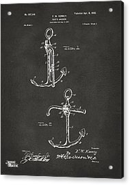 1902 Ships Anchor Patent Artwork - Gray Acrylic Print by Nikki Marie Smith