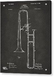 1902 Slide Trombone Patent Artwork - Gray Acrylic Print