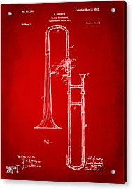 1902 Slide Trombone Patent Artwork Red Acrylic Print by Nikki Marie Smith