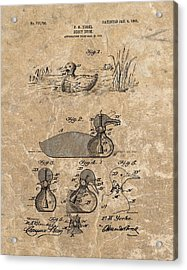 1903 Duck Decoy Patent Acrylic Print by Dan Sproul