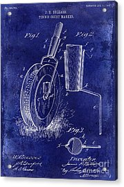 1903 Tennis Court Marker Patent Drawing Blue Acrylic Print