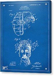 1904 Baseball Catchers Mask Patent Artwork - Blueprint Acrylic Print
