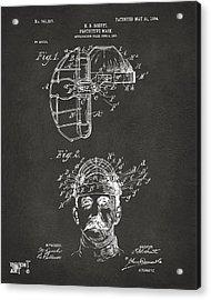 1904 Baseball Catchers Mask Patent Artwork - Gray Acrylic Print