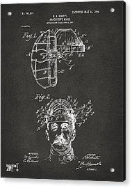 1904 Baseball Catchers Mask Patent Artwork - Gray Acrylic Print by Nikki Marie Smith